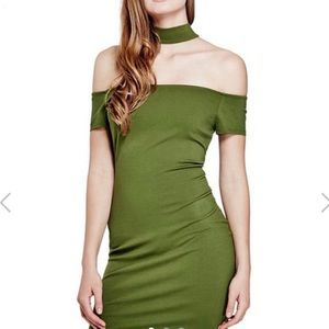 Olive green choker dress by Guess